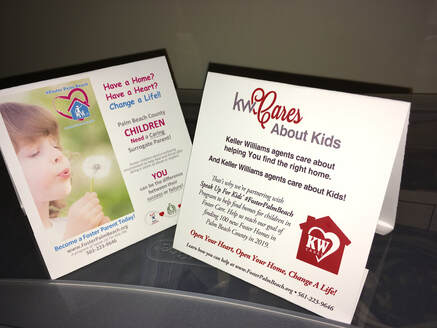 Realtors help foster kids, sample of open house tent card used by Keller Williams Palm Beaches